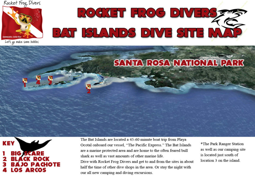 Bat Islands Costa Rica dive site map